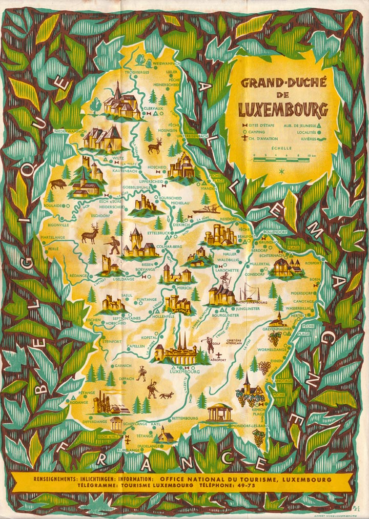 1952 tourist map of Luxembourg