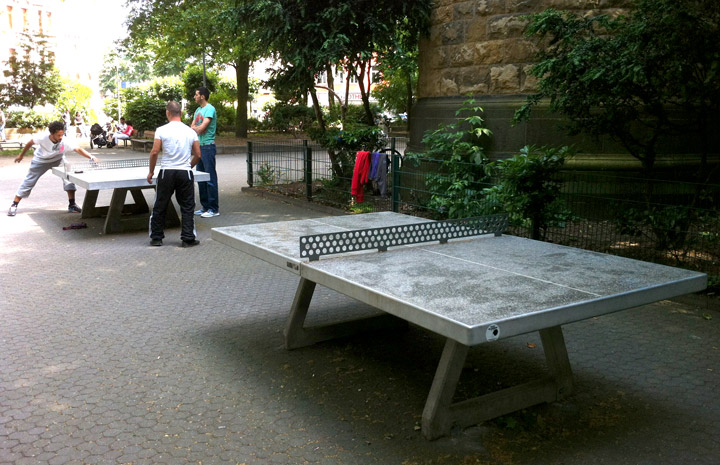 ping pong tables in the Belgian quarter of Cologne, Germany