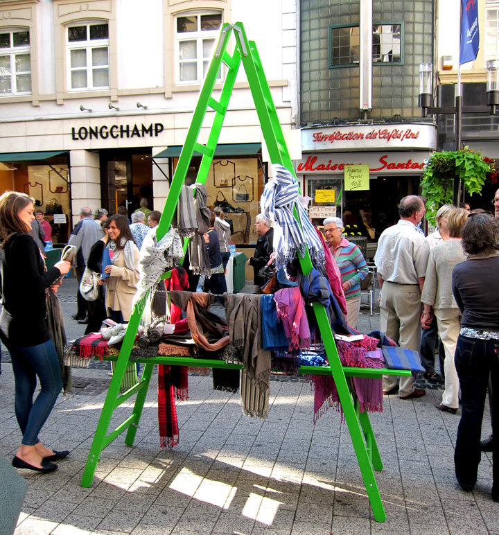 DIY street stall made from an off the shelf ladder