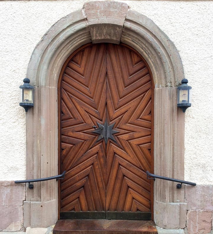 Church door, star shaped