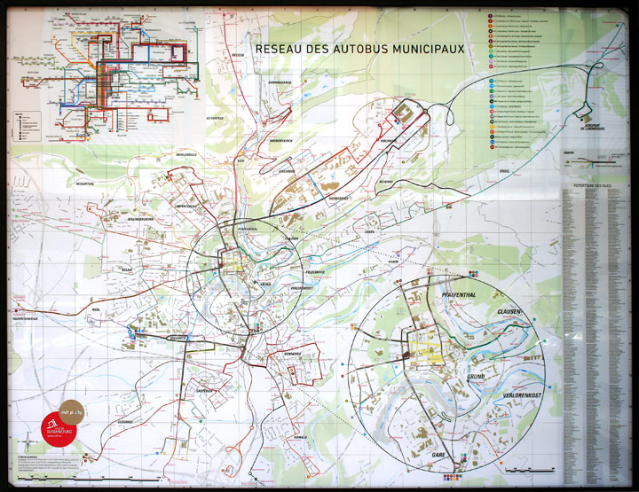 Ville de Luxembourg city map with bus network
